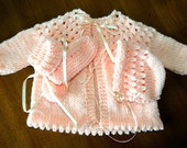 Treasury Item -3 Piece Layette 6 - 9 Month / Light & Airy / Baby / Spring  /  Eyelet / Sweater / Hat / Booties / Ready to Ship