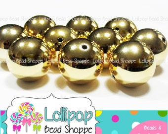 shiny gold gumball beads 20mm solid golden metallic bubblegum beads round chunky beads