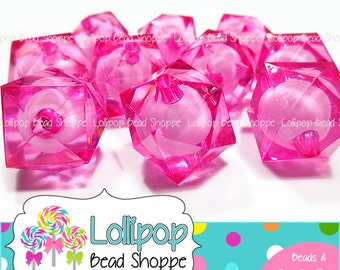 HOT PINK Ice CUBE Beads 20mm Beads Chunky Beads Faceted Beads Clear Square Beads Acrylic Beads Lucite 10ct Bubblegum Beads Bubble Gum Beads