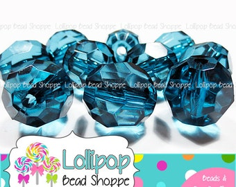 20mm TEAL Faceted Round Beads Transparent Chunky Necklace Beads Clear Acrylic Beads Blue Gumball Beads Bubble Gum Beads Bubblegum Beads