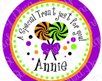 PERSONALIZED STICKERS - Halloween Treat Personalized Monogrammed Labels -Perfect for Treat Bags - Round Gloss Labels