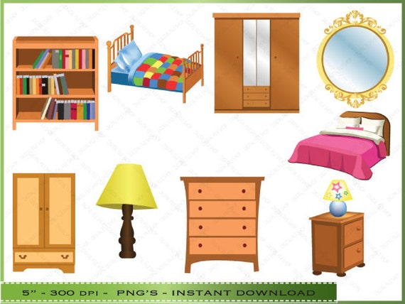 Items similar to furniture clipart clip art of bedroom for Furniture found in the home