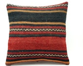 16x16 Vintage Hand Woven Turkish Kilim Pillow  - Old  Kilim Cushion 298,black,red,gray,light orange,white ,striped - GalenUnique