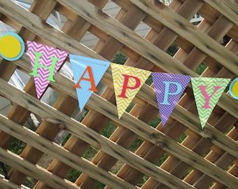 Chevron and polka dot Happy Birthday banner, Birthday banner, 1st birthday banner, Birthday decorations