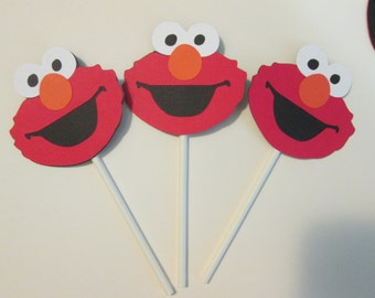 Set of 12 Elmo cupcake toppers