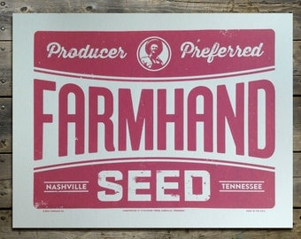 Farmhand Seed Vintage Style Retro Americana 14 x 11 Screen Print Poster