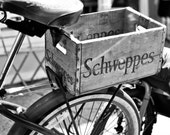 black and white bicycle, schweppes box, vintage photography, vintage home decor, black & white wall art, wall art,