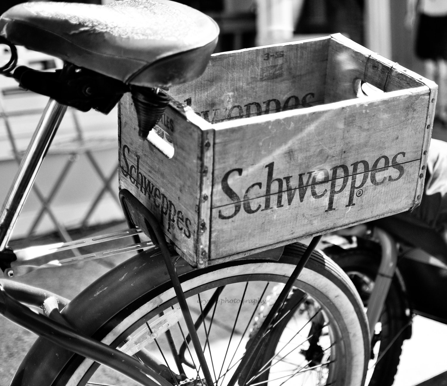 black and white bicycle schweppes box vintage photography