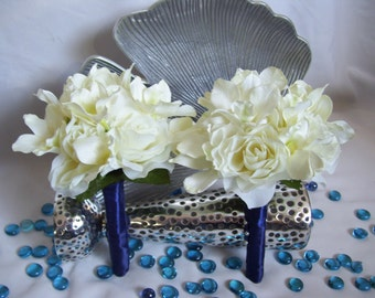 Terra's Bridesmaids Bouquets with White Dendrobuim Orchids and Cream open roses