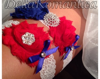 Red, White and Blue - Military Garter - Patriotic Garter