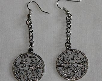 Silver Circle Earrings, Silver Earrings