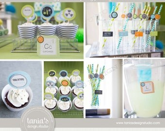 Science Printable Birthday Party Package with Orange by tania's design studio