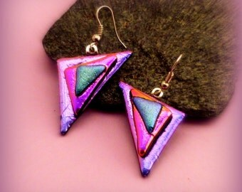 Fused Dichroic Glass Earrings Pink Magenta Lilac Aqua Silver French Wire
