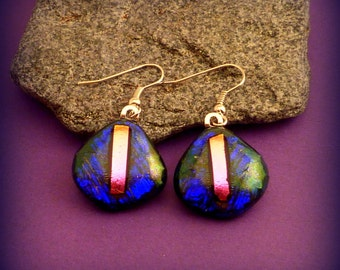 Dichroic Glass Earrings Blue Magenta Pink Silver French Wire
