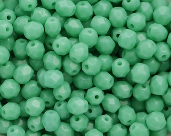 50pcs Green Turquoise 4mm Czech Fire Polished Glass Beads Polish Faceted