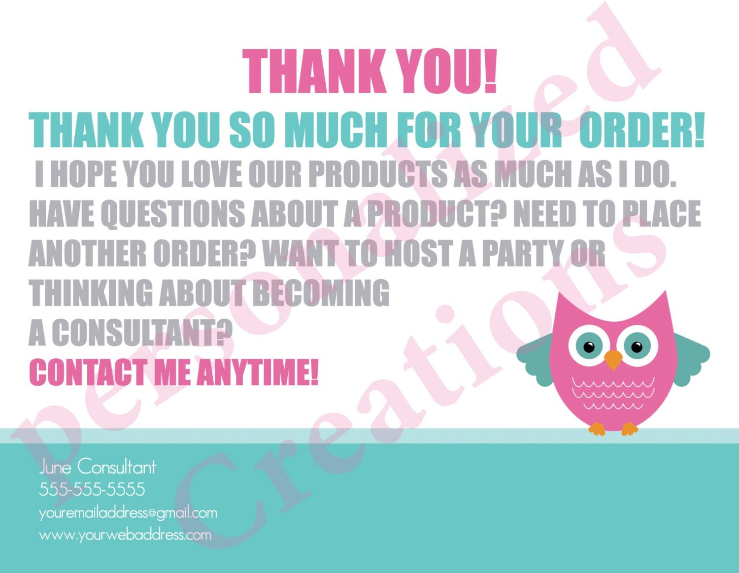 Personalized Thank You Cards made for Thirty-One Gifts