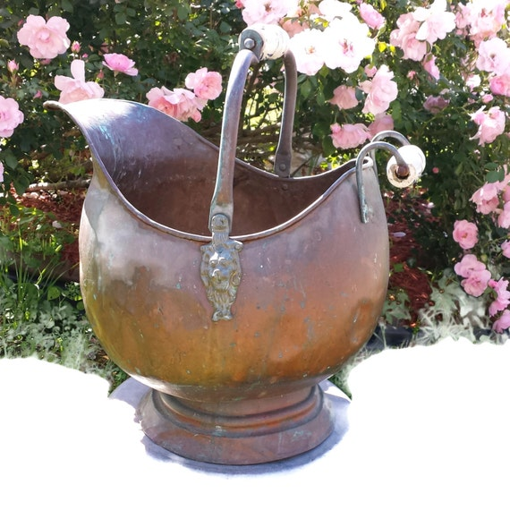 Copper Coal Scuttle Bucket Very Large Rustic Delft Blue Ceramic Handle Brass Lions