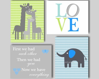 Baby Boy Nursery Art Elephant Nursery Art Giraffe Nursery Wall Art First We Had Each Other Love Art Choose Colors Jungle Nursery Art  EH5870