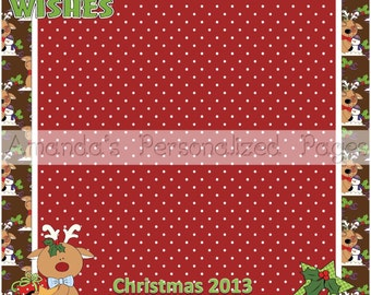 12x12 1-page Personalized Scrapbook  Paper (Reindeer Friends)