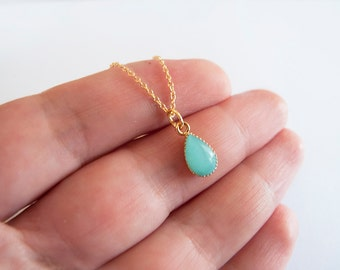 Turquoise Drop Necklace - Gift for Her