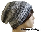 Beanie hat,Mens crochet hat, Mens Gray beanie, Gray slouch beanie, mens Gray Slouch hat, slouchy Gray beanie, unisex beanie