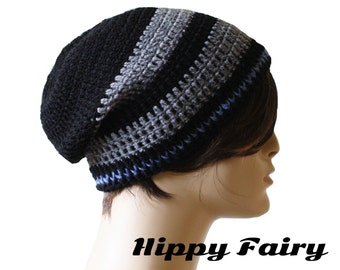 Midnight black, Slate gray and Fern Blue Slouch Beanie
