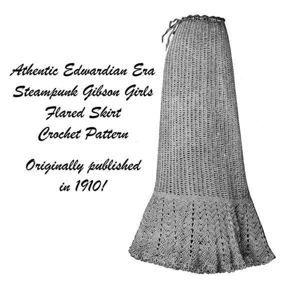 Stampunk Skirt Crochet Pattern 1910 Dress DIY Victorian Dr Who
