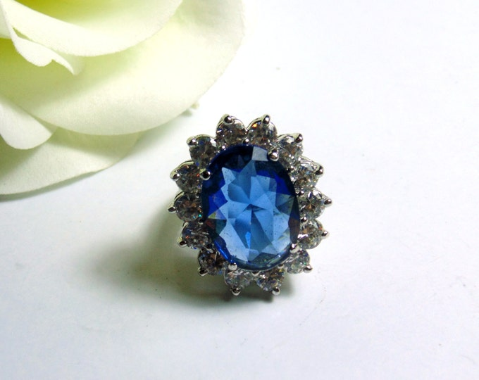 "Designer Kenneth Jay Lane ""Princess Diana"" Sapphire Crystal Ring ~ Free Shipping"