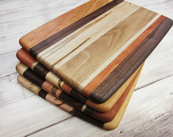Wood Cutting Board, Random Layout, Walnut, Cherry & Ambrosia Maple Wood