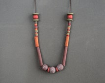 Hippie necklace Rustic necklace Indie Boho necklace Tribal necklace Beadwork Indie Red Brown Ochre necklace Metal free Polymer clay necklace