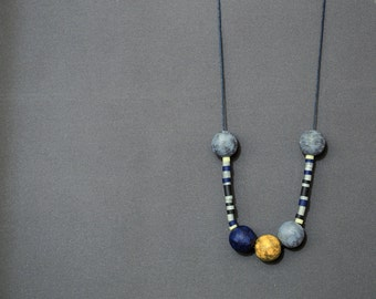 Tribal necklace Polymer clay necklace Beadwork necklace Blue necklace Grey necklace Yellow necklace beaded Indie Boho necklace Hippie Spring