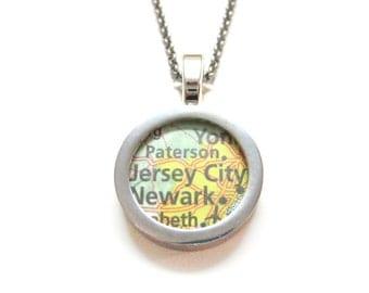 Jersey City New Jersey Map Pendant Necklace