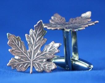 Antique Brass Maple Leaf Cufflinks Free gift bag by Cufflinked Canadian Wedding Idea