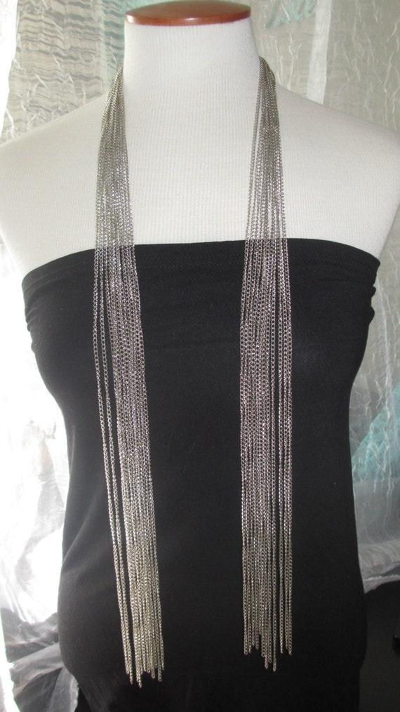 Metal Silver Chain Tie Necklace lariat