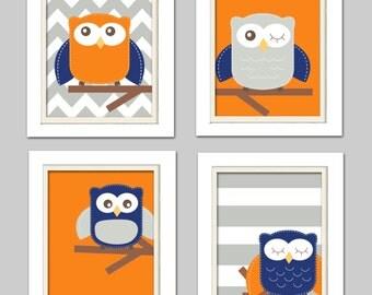 Orange and gray nursery, Nursery Owl Art, Orange Navy and Gray Nursery, Owl Nursery, Set of 4 8x10
