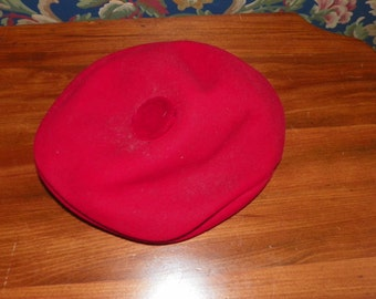 Red Wool Golf Cap