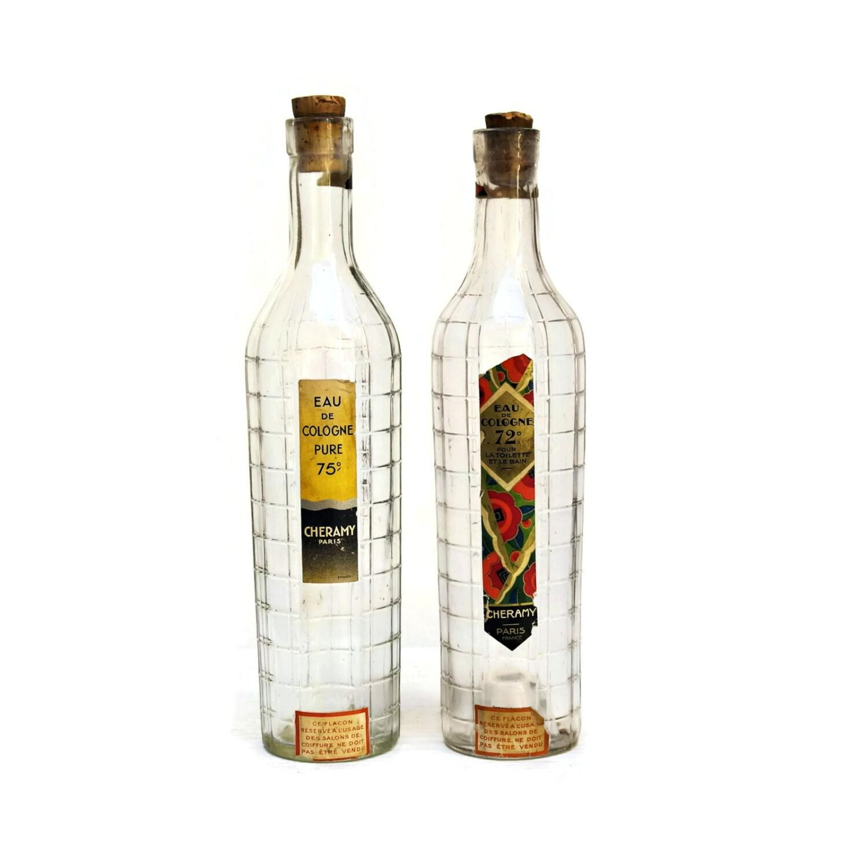 Perfume Bottles Vanilla And Perfume Bottle: French Perfume Bottles. Art Deco Cologne Glass Bottles