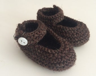 Knitted Baby Mary Jane Shoes