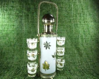 Mid Century Liquor Pump and Shot Glasses, Bar ware, bar set, shot glass decanter set,