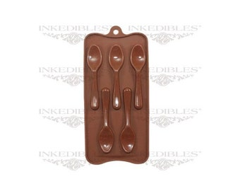 Spoon-Shaped 3D Silicone Chocolate Mold (Creates 5 Chocolate Spoons, 3 Dimensional)