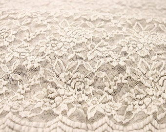 Natural Scalloped Lace Fabric by the Yard Wedding Bridal Craft Lace Material  Natural Lace Fabrics - 1 Yard Style 312