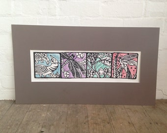 Dragonfly Garden-  coloured -Lino Print by Samantha Thompson