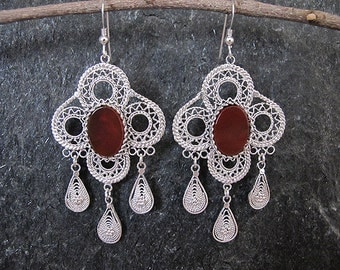 Carnelian silver earrings, Silver earrings, Filigree earrings, Carnelian earrings, Israel jewelry, Ethnic earrings,Yemenite jewelry