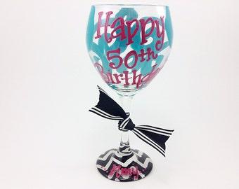 Happy 50th Birthday Wine Glass Chevron Personalized Custom Name 50th Birthday Beer Mug 50th 60th 40th 30th