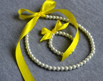 yellow ribbon pearl set,white pearl, Little Girl Pearl and ribbon Necklace and Bracelet set ,flower girl gift or first pearls.