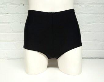 Black high waist bottoms / High waisted bottoms / Retro swimsuit bottoms / High waist swim bottoms / FREE SHIPPING