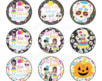 Dia De Los Muertos Bottle Cap Images, Day Of The Dead Bottle Cap Images, Sugar Skull Bottle Cap Images, Sugar Skulls, Instant Download,