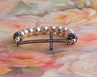 SILVER and RHINESTONE SIDEWAYS Cross Bracelet, Confirmation