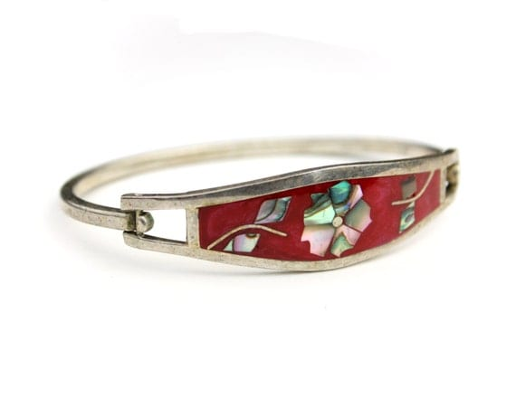 Taxco mexico red bracelet abalone by jellevintage on etsy