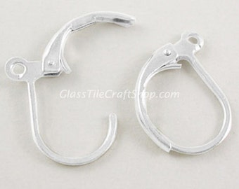 100 pair Lever Earrings Hoops Sterling Silver Plated 15x10mm. (EARHOOP)